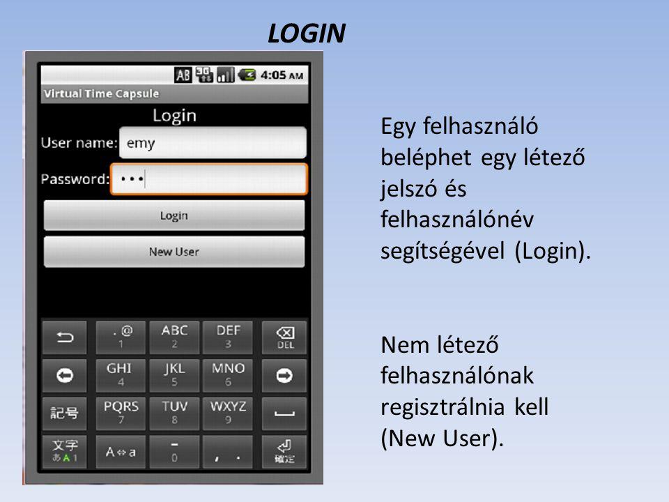 LOGIN Egy felhasználó beléphet egy létező jelszó és felhasználónév segítségével (Login).