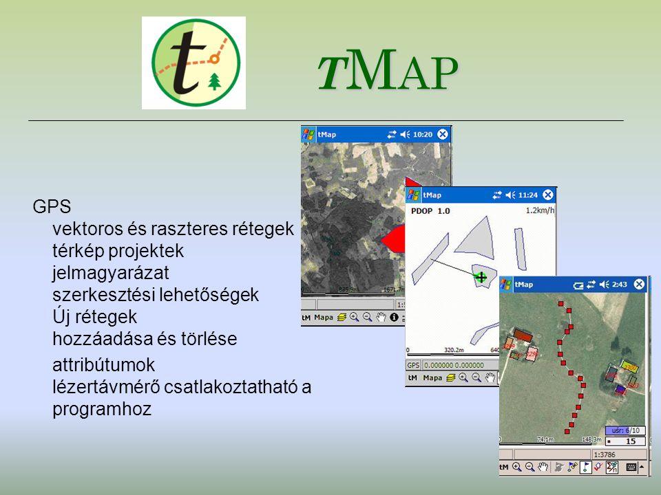 tMap GPS vektoros és raszteres rétegek térkép projektek jelmagyarázat szerkesztési lehetőségek Új rétegek hozzáadása és törlése.