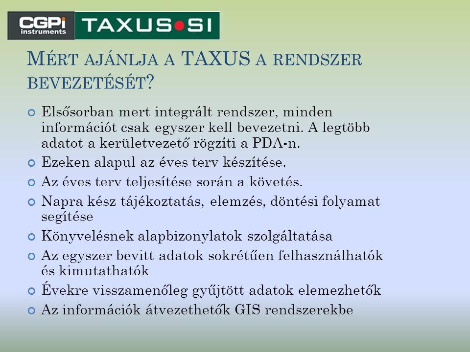 Mért ajánlja a TAXUS a rendszer bevezetését