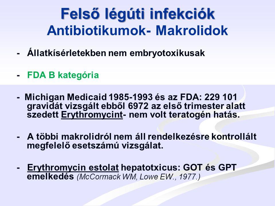 Felső légúti infekciók Antibiotikumok- Makrolidok