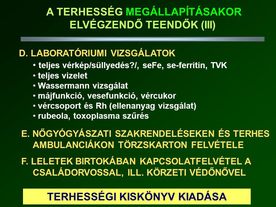 A TERHESSÉG MEGÁLLAPÍTÁSAKOR ELVÉGZENDŐ TEENDŐK (III)