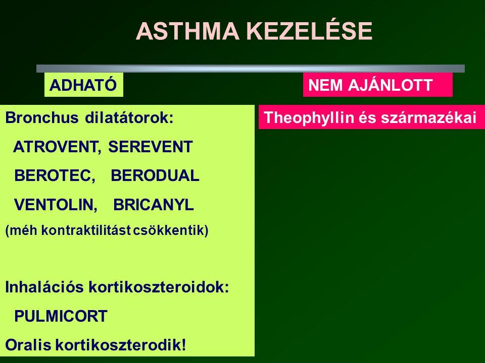 ASTHMA KEZELÉSE ADHATÓ NEM AJÁNLOTT Bronchus dilatátorok: