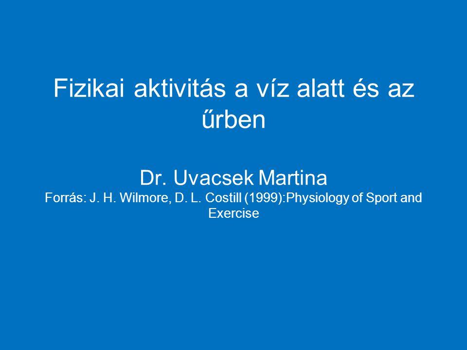 Fizikai aktivitás a víz alatt és az űrben Dr. Uvacsek Martina Forrás: J.