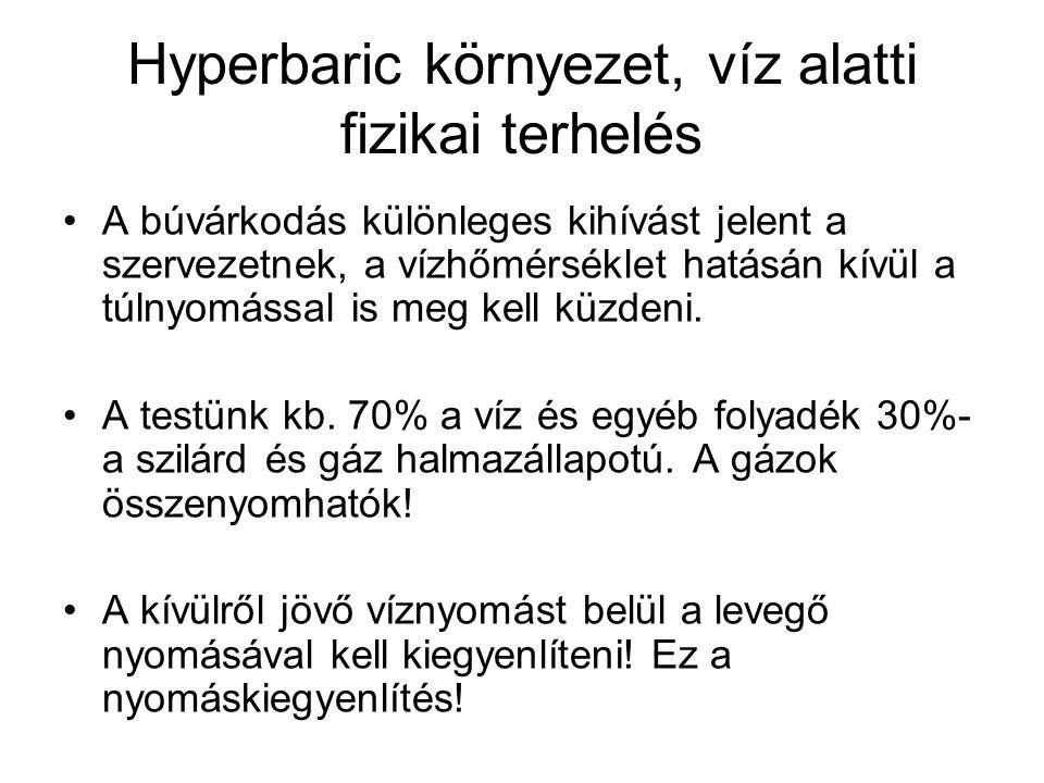 Hyperbaric környezet, víz alatti fizikai terhelés