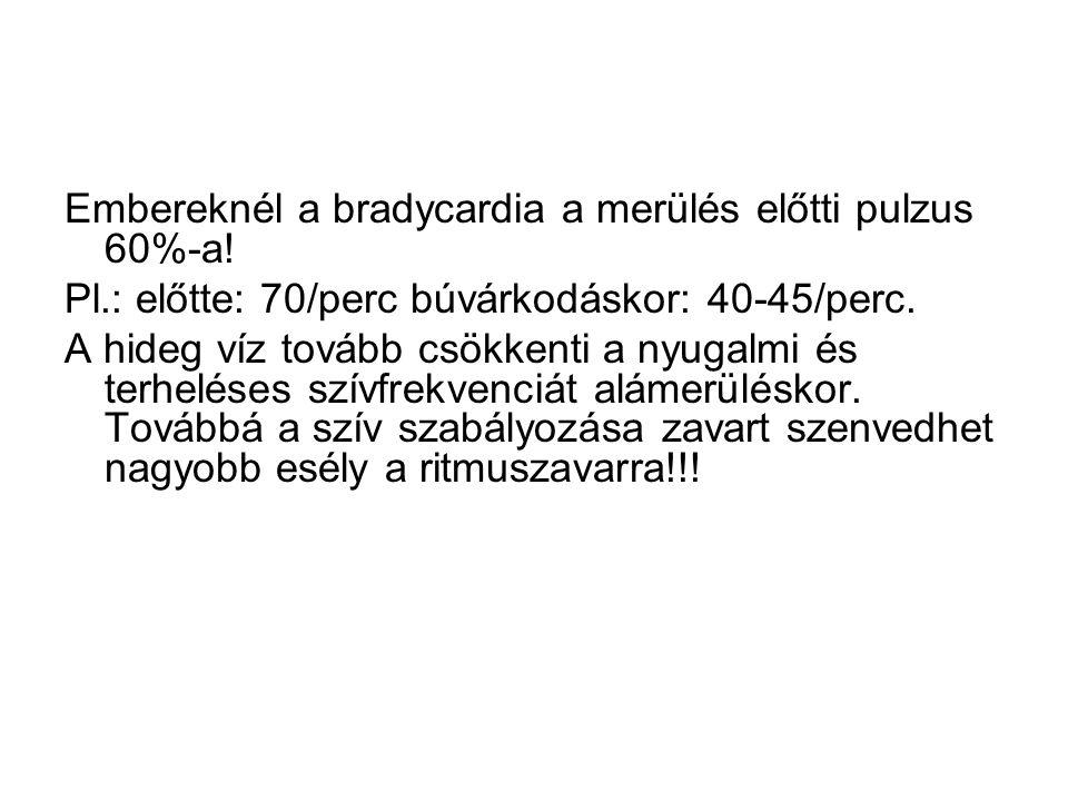 Embereknél a bradycardia a merülés előtti pulzus 60%-a. Pl