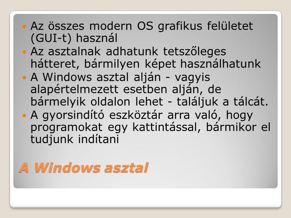 Az összes modern OS grafikus felületet (GUI-t) használ