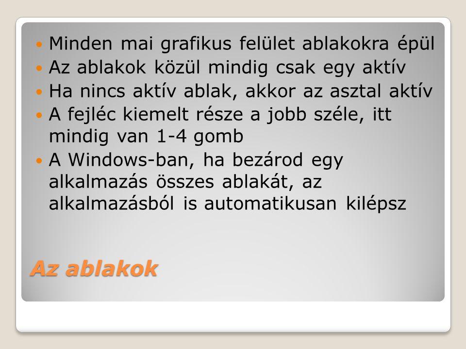 Az ablakok Minden mai grafikus felület ablakokra épül