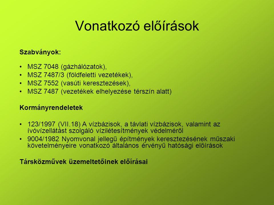 Vonatkozó előírások Szabványok: MSZ 7048 (gázhálózatok),