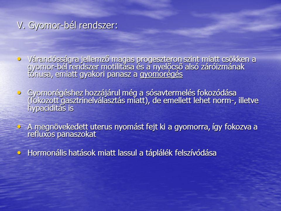 V. Gyomor-bél rendszer: