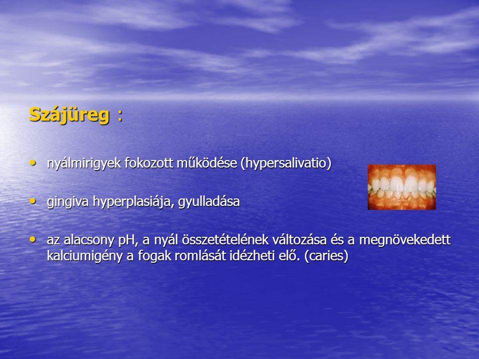 Szájüreg : nyálmirigyek fokozott működése (hypersalivatio)