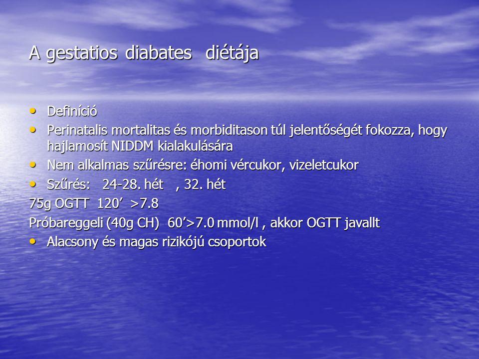 A gestatios diabates diétája