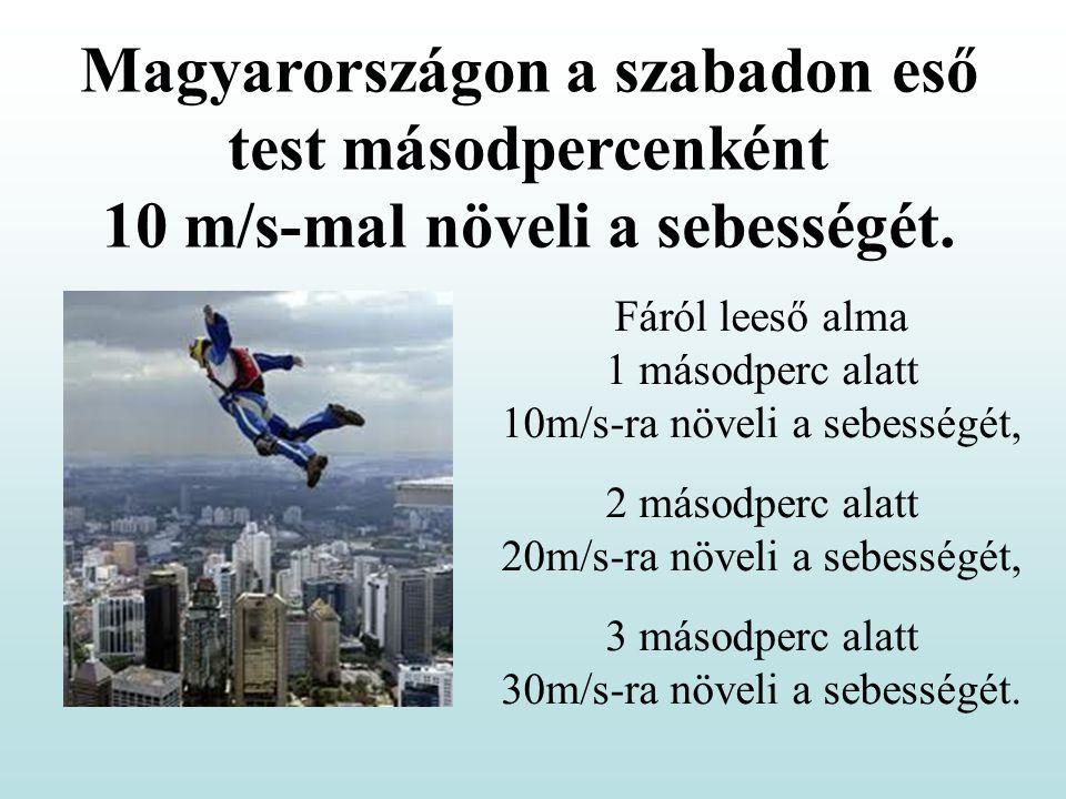 Magyarországon a szabadon eső test másodpercenként 10 m/s-mal növeli a sebességét.