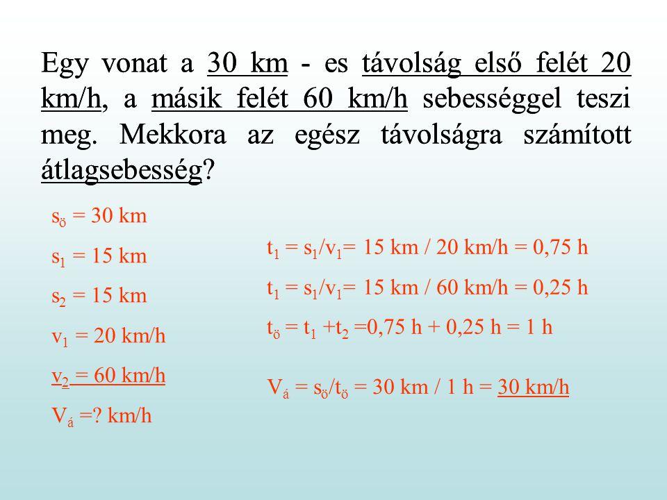 Egy vonat a 30 km - es távolság első felét 20 km/h, a másik felét 60 km/h sebességgel teszi meg. Mekkora az egész távolságra számított átlagsebesség