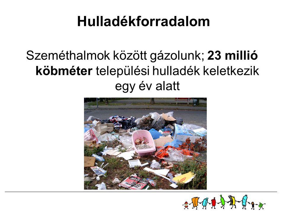Hulladékforradalom Szeméthalmok között gázolunk; 23 millió köbméter települési hulladék keletkezik egy év alatt.