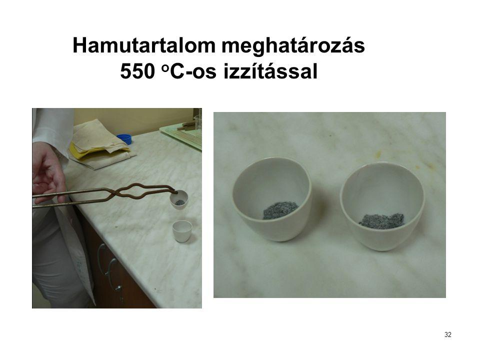 Hamutartalom meghatározás 550 oC-os izzítással