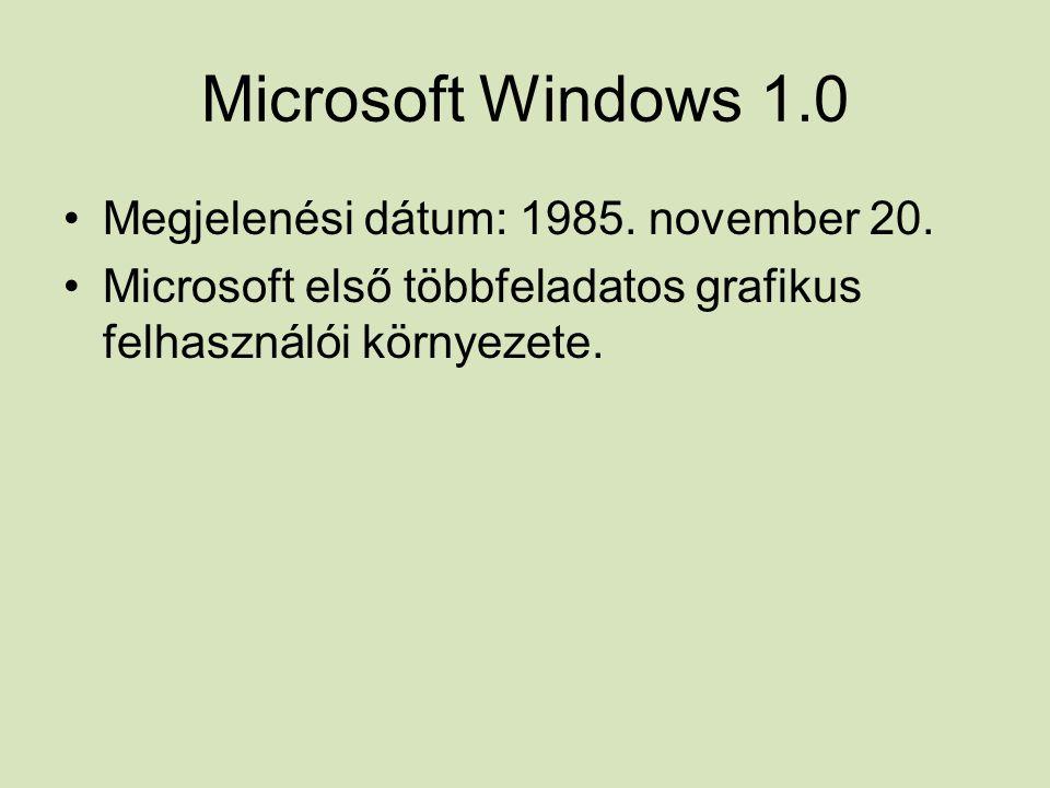 Microsoft Windows 1.0 Megjelenési dátum: 1985. november 20.