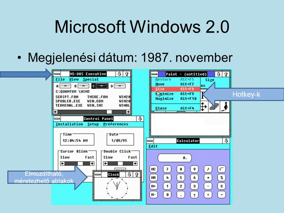 Elmozdítható, méretezhető ablakok