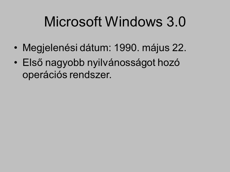 Microsoft Windows 3.0 Megjelenési dátum: 1990. május 22.
