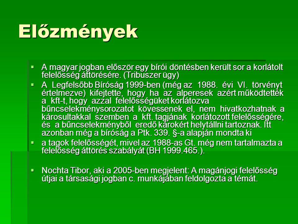Előzmények A magyar jogban először egy bírói döntésben került sor a korlátolt felelősség áttörésére. (Tribuszer ügy)