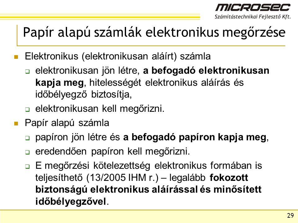 Papír alapú számlák elektronikus megőrzése