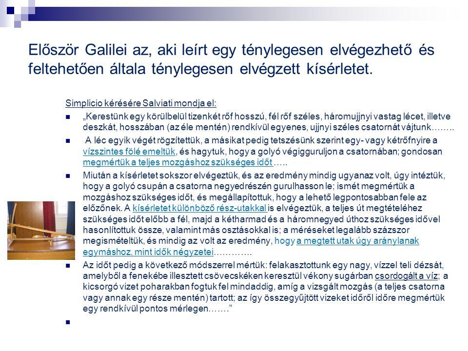 Először Galilei az, aki leírt egy ténylegesen elvégezhető és feltehetően általa ténylegesen elvégzett kísérletet.