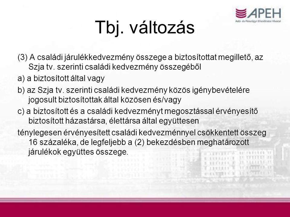 Tbj. változás (3) A családi járulékkedvezmény összege a biztosítottat megillető, az Szja tv. szerinti családi kedvezmény összegéből.