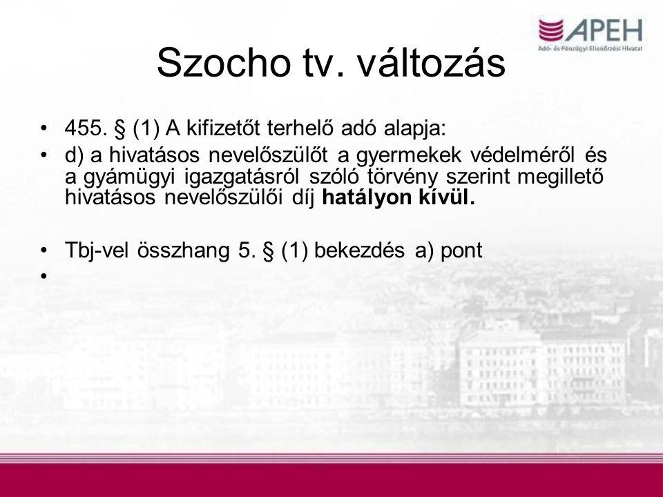 Szocho tv. változás 455. § (1) A kifizetőt terhelő adó alapja: