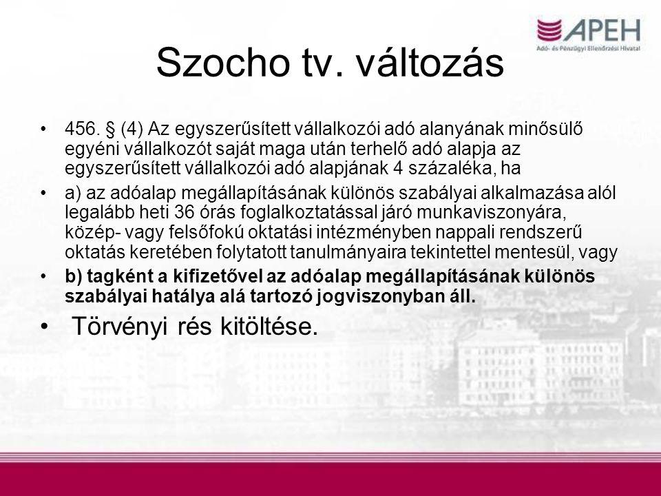 Szocho tv. változás Törvényi rés kitöltése.