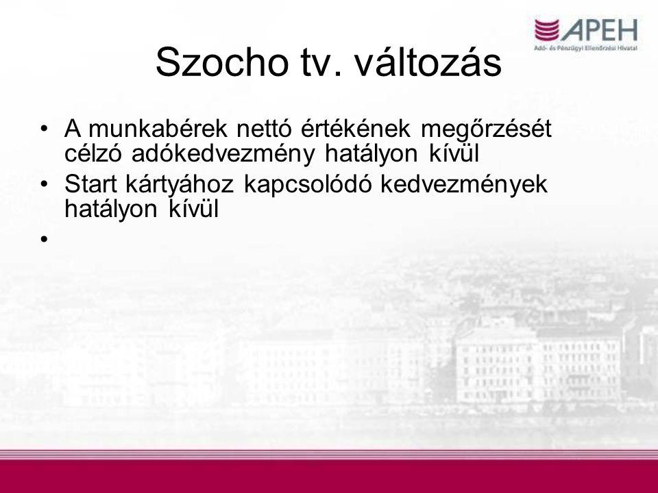 Szocho tv. változás A munkabérek nettó értékének megőrzését célzó adókedvezmény hatályon kívül.