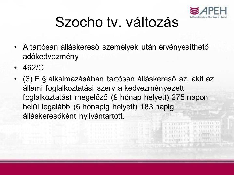 Szocho tv. változás A tartósan álláskereső személyek után érvényesíthető adókedvezmény. 462/C.