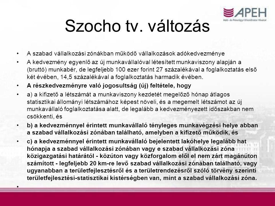 Szocho tv. változás A szabad vállalkozási zónákban működő vállalkozások adókedvezménye.
