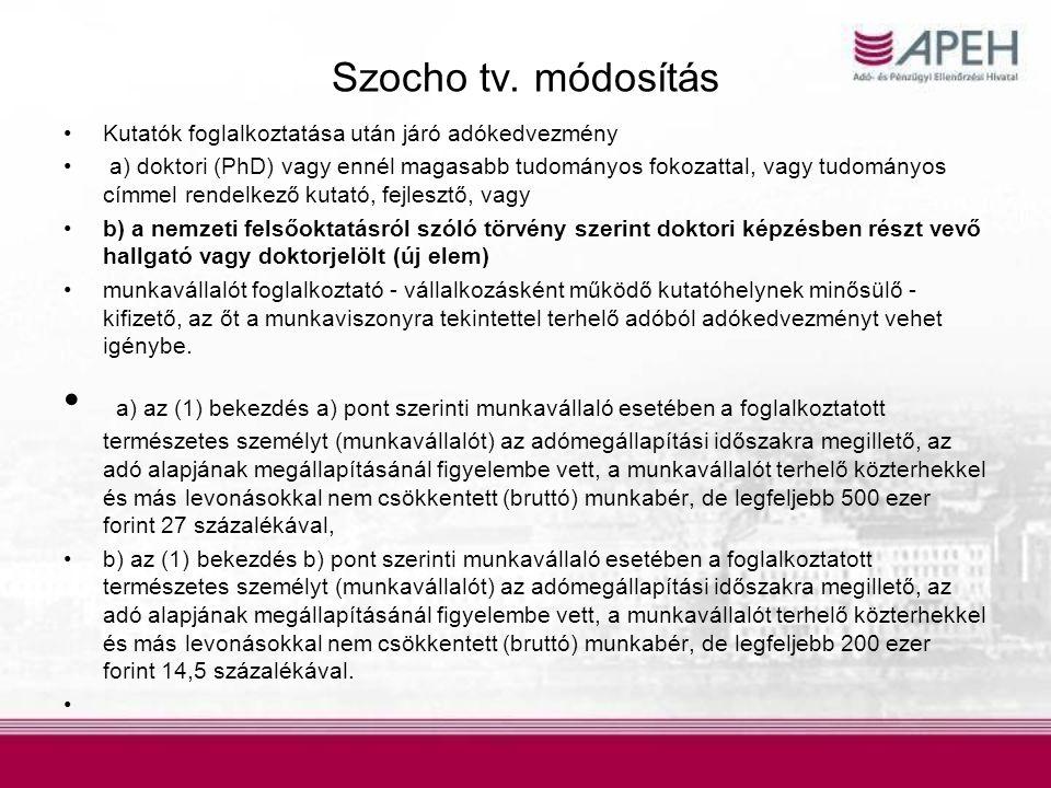 Szocho tv. módosítás Kutatók foglalkoztatása után járó adókedvezmény.