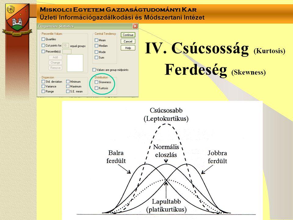 IV. Csúcsosság (Kurtosis) Ferdeség (Skewness)