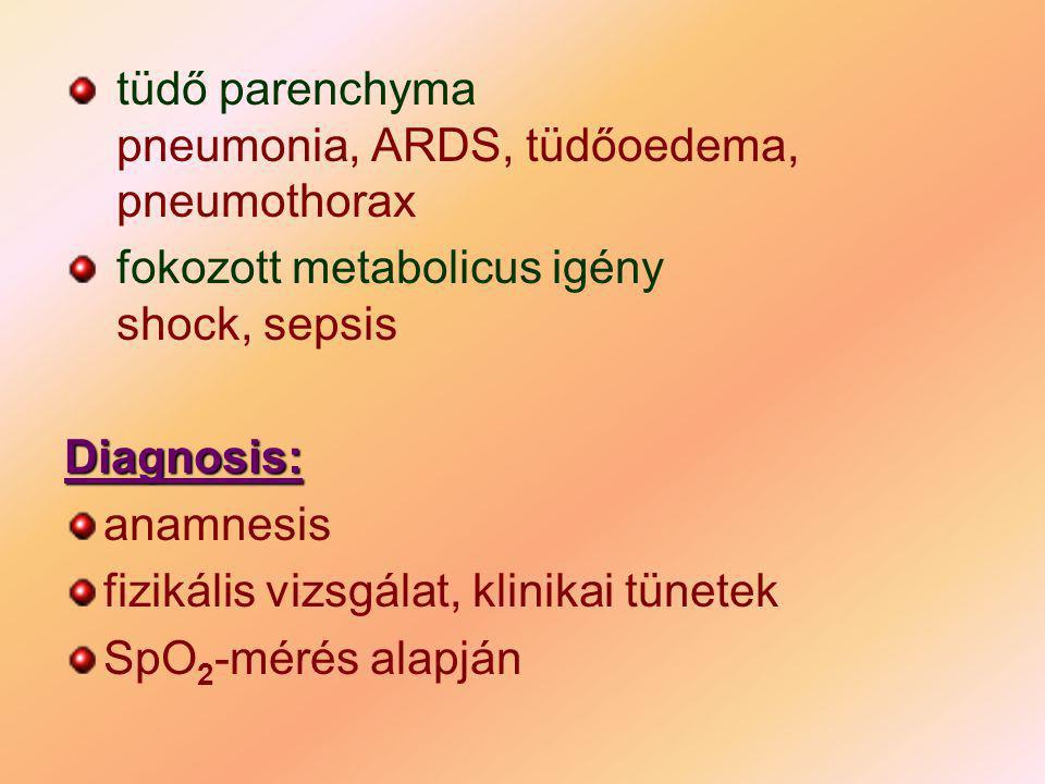 tüdő parenchyma pneumonia, ARDS, tüdőoedema, pneumothorax