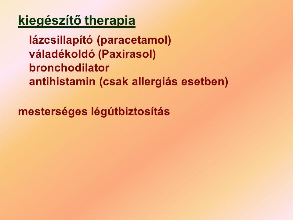 kiegészítő therapia lázcsillapító (paracetamol) váladékoldó (Paxirasol) bronchodilator antihistamin (csak allergiás esetben)