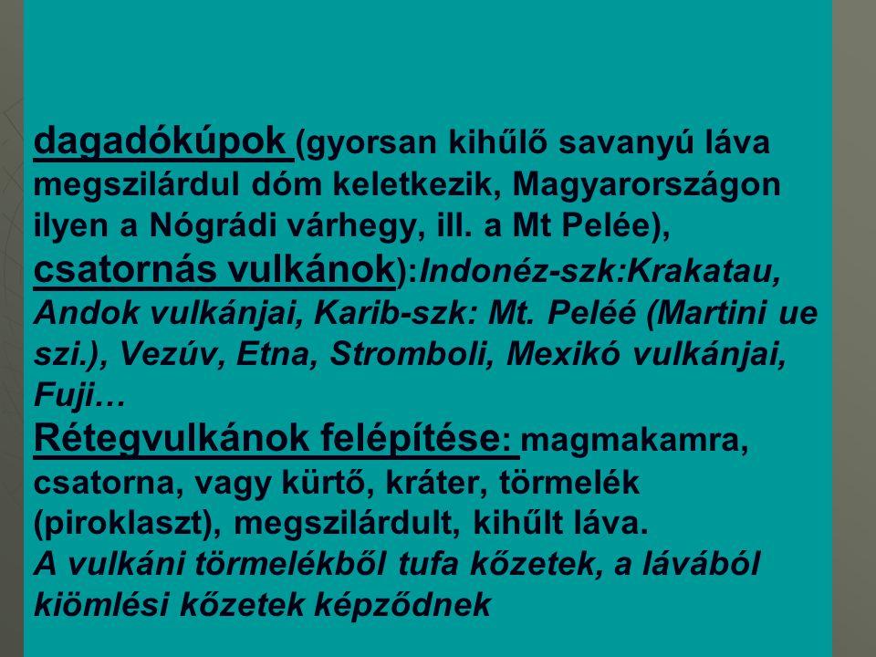 dagadókúpok (gyorsan kihűlő savanyú láva megszilárdul dóm keletkezik, Magyarországon ilyen a Nógrádi várhegy, ill.