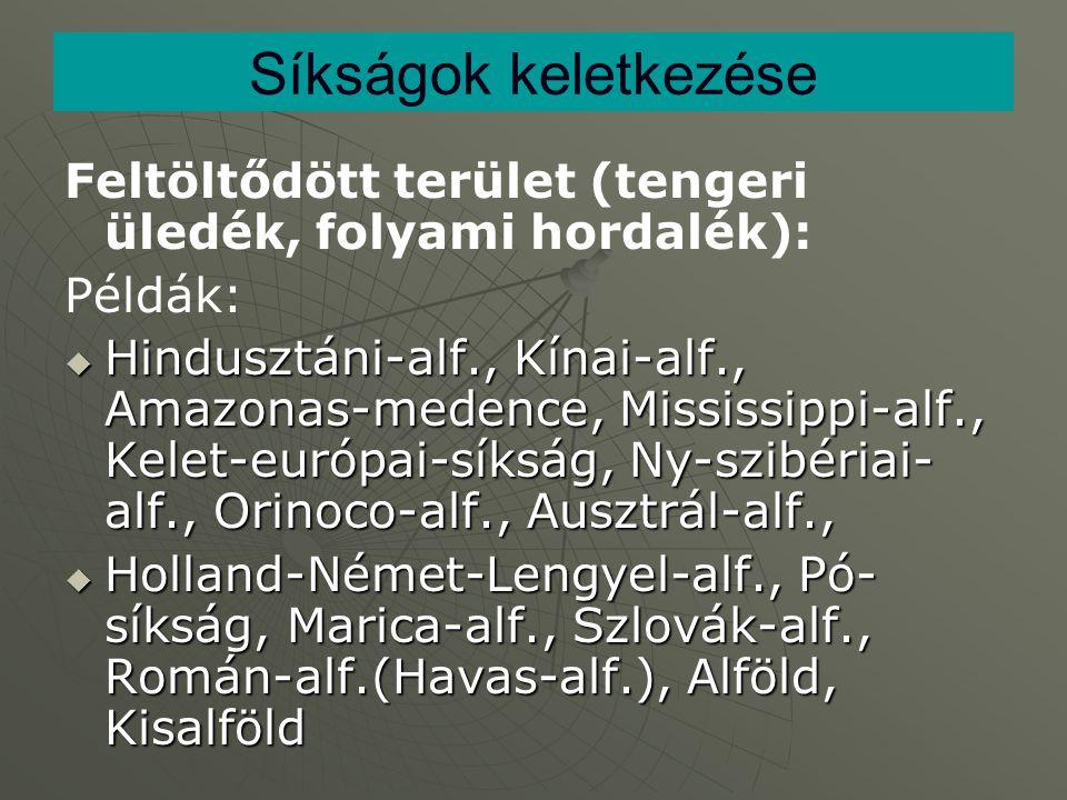 Síkságok keletkezése Feltöltődött terület (tengeri üledék, folyami hordalék): Példák: