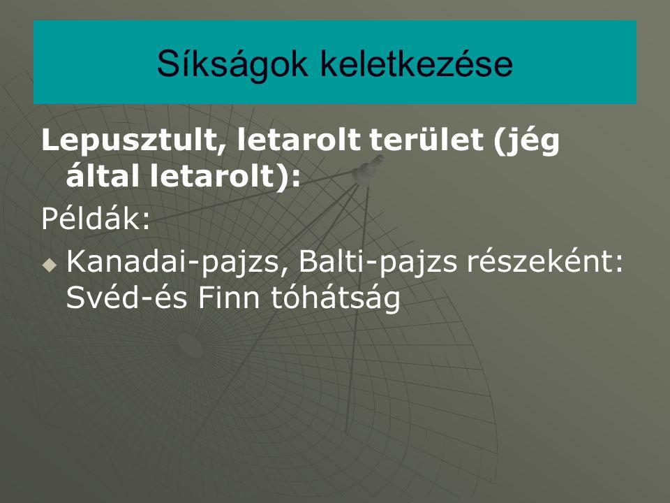 Síkságok keletkezése Lepusztult, letarolt terület (jég által letarolt): Példák: Kanadai-pajzs, Balti-pajzs részeként: Svéd-és Finn tóhátság.