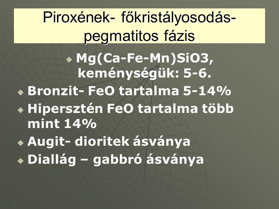 Piroxének- főkristályosodás- pegmatitos fázis