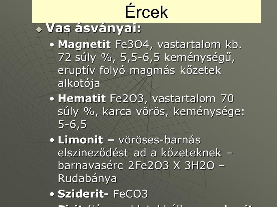 Ércek Vas ásványai: Magnetit Fe3O4, vastartalom kb. 72 súly %, 5,5-6,5 keménységű, eruptív folyó magmás kőzetek alkotója.