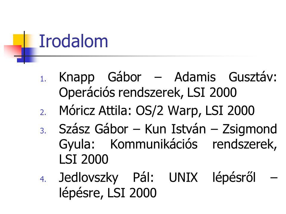 Irodalom Knapp Gábor – Adamis Gusztáv: Operációs rendszerek, LSI 2000