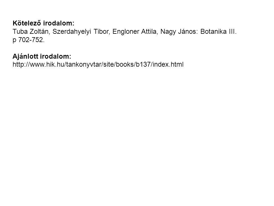 Kötelező irodalom: Tuba Zoltán, Szerdahyelyi Tibor, Engloner Attila, Nagy János: Botanika III. p 702-752.