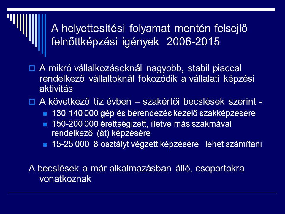 A helyettesítési folyamat mentén felsejlő felnőttképzési igények 2006-2015