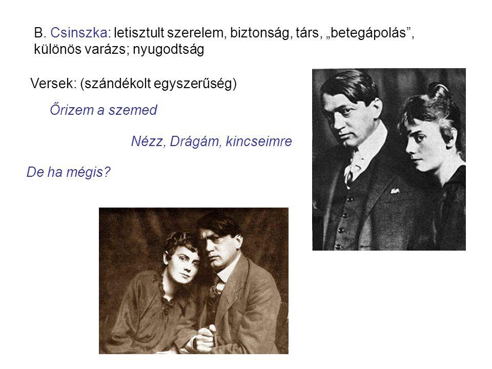 """B. Csinszka: letisztult szerelem, biztonság, társ, """"betegápolás ,"""