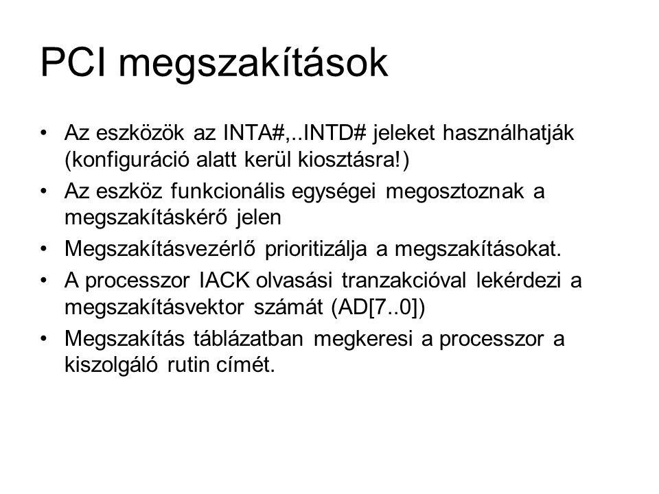 PCI megszakítások Az eszközök az INTA#,..INTD# jeleket használhatják (konfiguráció alatt kerül kiosztásra!)