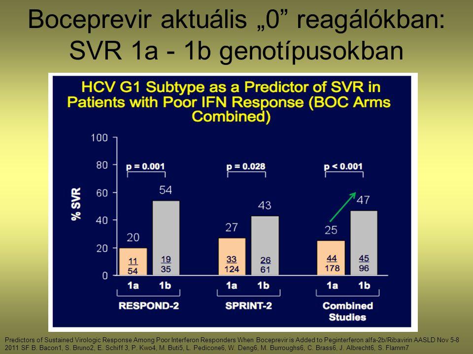 """Boceprevir aktuális """"0 reagálókban: SVR 1a - 1b genotípusokban"""