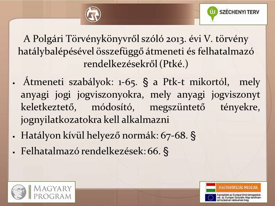 A Polgári Törvénykönyvről szóló 2013. évi V