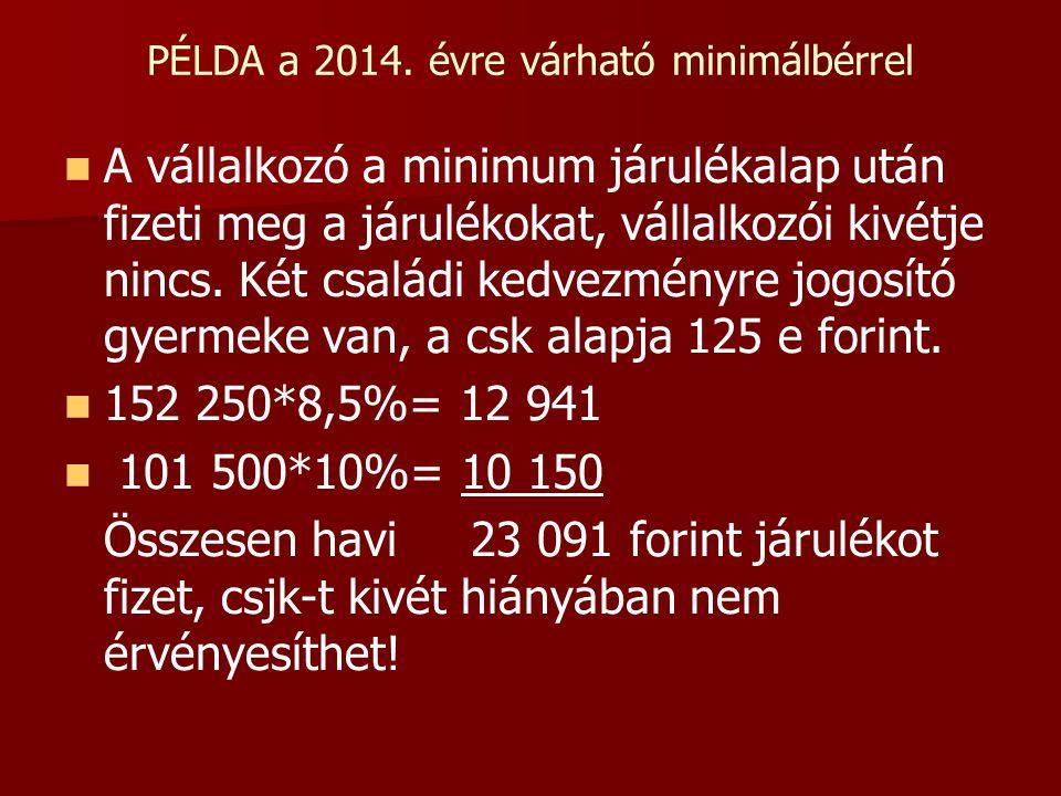 PÉLDA a 2014. évre várható minimálbérrel