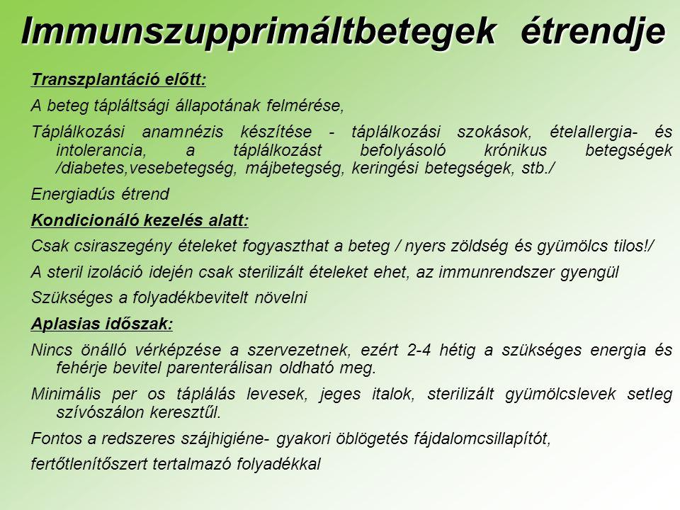 Immunszupprimáltbetegek étrendje