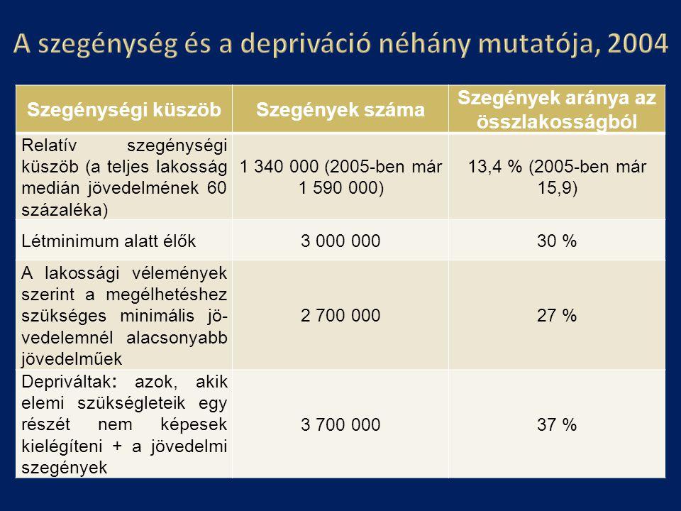 A szegénység és a depriváció néhány mutatója, 2004